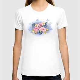Three Pink Roses with Butterflies T-shirt