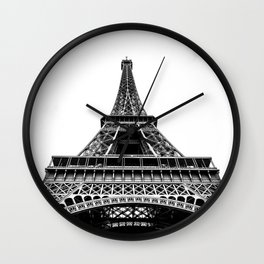 Eiffel Tower in Paris, Black and White (France, Europe) Wall Clock