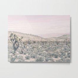 Mojave Pink Dusk // Desert Cactus Landscape Soft Cloudy Sky Mountain Scape Photograph Metal Print