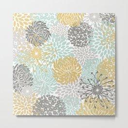 Floral Abstract Print, Yellow, Gray, Aqua Metal Print