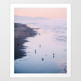 Pink Sunset at Ocean Beach Art Print