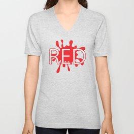 Red creative typography design Unisex V-Neck