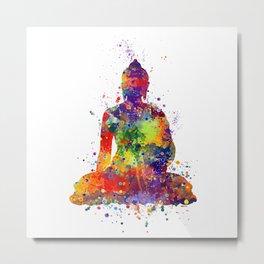 Buddha Watercolor Art Ohm Art Zen Art Meditation Gift Metal Print