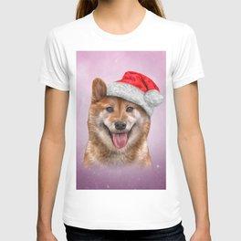 Japanese Shiba Inu dog in red hat of Santa Claus T-shirt