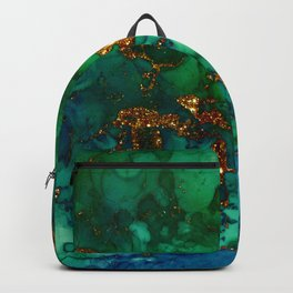 Emerald And Blue Glitter Marble Backpack
