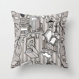 Books: Through the rabbit hole_Warm Gray Throw Pillow