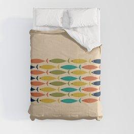 Midcentury Modern Multicolor Fish Stripe Pattern in Olive, Mustard, Orange, Teal, Beige Comforters