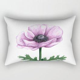 Pink Anemone Flower Painting Rectangular Pillow