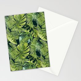 Lush Green Monstera And Palm Leaf Pattern Stationery Cards
