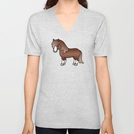 Chestnut Shetland Pony Cute Cartoon Illustration Unisex V-Neck