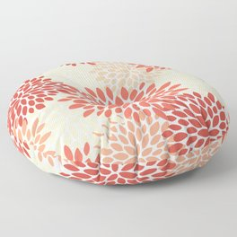 Floral Pattern, Orange, Red, Peach, Pale Yellow, Flowers Print Floor Pillow
