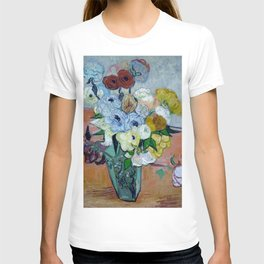 Vincent Van Gogh Japanese Vase with Roses and Anemones 1890 T-shirt