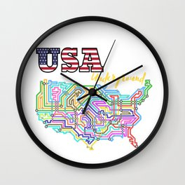 USA Underground with colorful lines Wall Clock