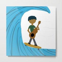 Skater playing Guitar in Waves Metal Print