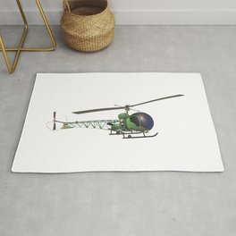 Old Small Green Helicopter Rug