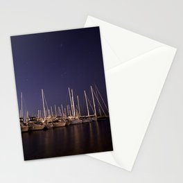 Sailboats Docked Under The Stars Stationery Cards