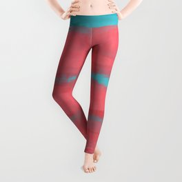 Sunset in Paradise, Minimal Abstract Painting in Coral and Turquoise Colors, Modern Paint Stripes  Leggings