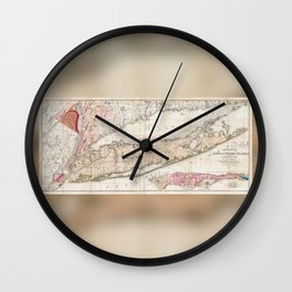 Long Island New York 1842 Mather Map Wall Clock