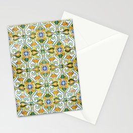 Seamless Floral Pattern Ornamental Tile Design : 9 yellow, green Stationery Cards