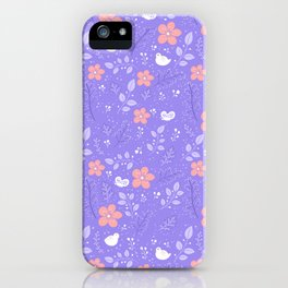 Cute bird and flower pattern iPhone Case