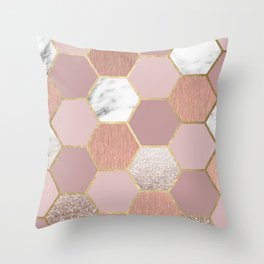 Indulgent desires rose gold marble Throw Pillow