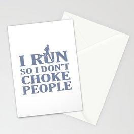 I RUN So I Don't Choke People Stationery Cards