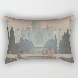 Morning Mist in Taj Mahal by Yoshida Hiroshi - Japanese Vintage Ukiyo-e Woodblock Painting Rectangular Pillow