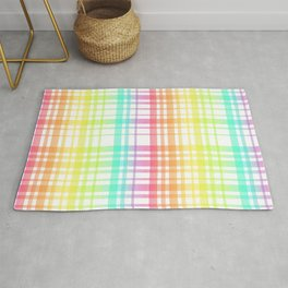 Light Rainbow Plaid Rug