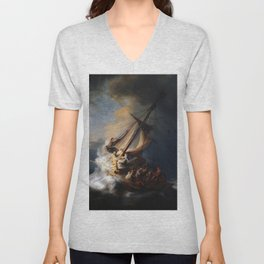 Stolen Painting - The Storm on the Sea of Galilee by Rembrandt Unisex V-Neck