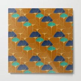 Gingko Biloba Leaves Abstract Pattern Metal Print