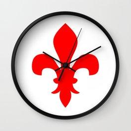 Fleur de Lis (Red & White) Wall Clock