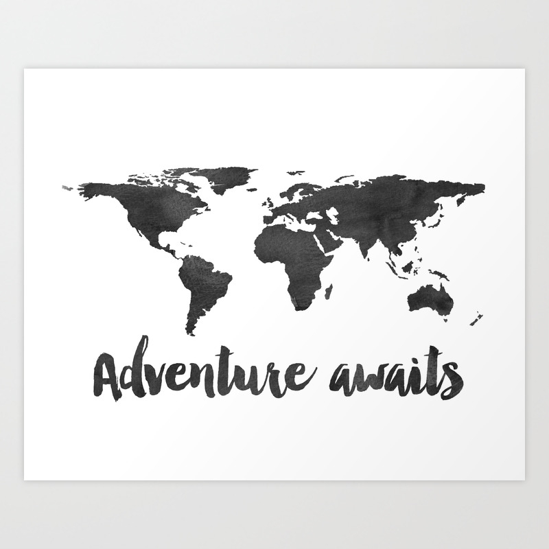 Printable Adventure Awaits World Map Poster Navy Travel Quote Print Jpg File Instant Download Art Print By Typodesign Society6