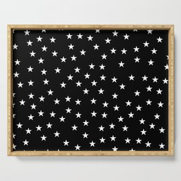 Black background with white stars seamless pattern Serving Tray