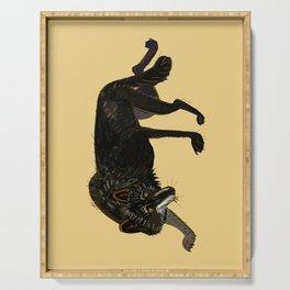 Black wolf totem (nubilus) Serving Tray