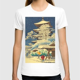 Japanese Woodblock Print Vintage Asian Art Colorful woodblock prints Shrine At Night Snow White T-shirt