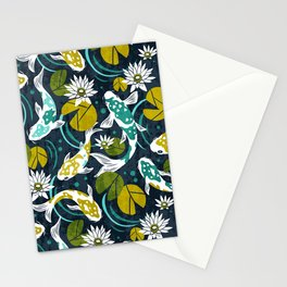 Koi Pond - Green Stationery Cards
