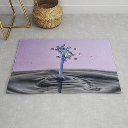Blue water flower waterdrop Rug