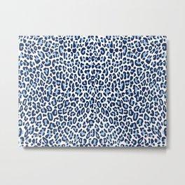 Blue Leopard Skin Metal Print