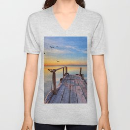 Romantic Long Pier Above Calm Lake At Dawn Ultra HD Unisex V-Neck