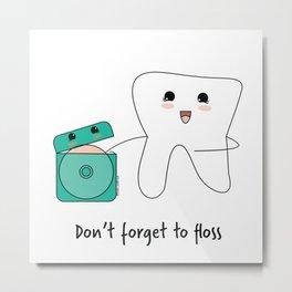 Kawaii tooth with dental floss Metal Print
