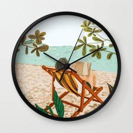 Vacay Book Club, Beach Tropical Ocean Travel Reading Illustration, Pastel Sea Vacation Holiday Wall Clock