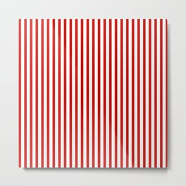 Red & White Maritime Vertical Small Stripes - Mix & Match with Simplicity of Life Metal Print