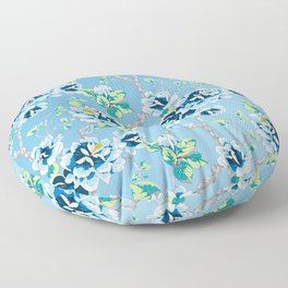 Chinoiserie Ming style Blue Floral Pattern Floor Pillow