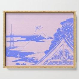Hokusai's Temple Illustration Remix Serving Tray
