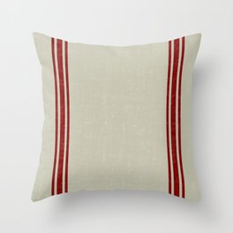 Red on Linen Color King Sham Grainsack Throw Pillow