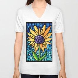 Standing Tall - Sunflower Art By Sharon Cummings Unisex V-Neck
