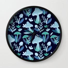 Mushroom Forest in Blue  Wall Clock