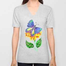 Butterfly on a Flower Unisex V-Neck