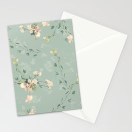 Sweet pea botanical pattern in green Stationery Cards