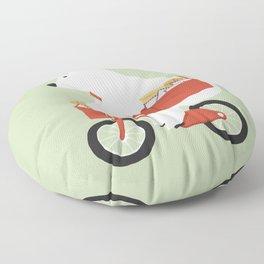 Polar bear postal express Floor Pillow
